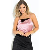 Blusa Quintess Rosa Com Detalhe De Renda
