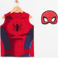 Regata Infantil Estampa Corpo Do Homem Aranha Com Máscara - Tam 2 A 8 Anos