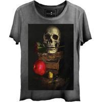 Camiseta Estonada Gola Canoa Corte A Fio Caveira Book