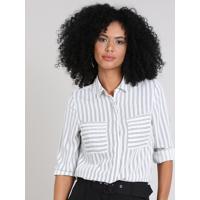 Camisa Feminina Listrada Com Bolsos Manga Longa Off White