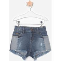 Short Jeans Com Recortes & Puídos- Azul Escuro & Azulcolcci