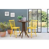 Conjunto Mesa Bistrô Redonda Com 2 Cadeiras Juliette - Nogueira E Amarelo