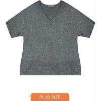 Blusa Plus Size Visco Tricot Cinza