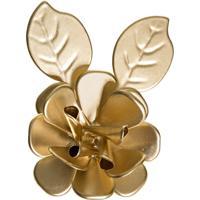 Flor Com Folhas Dourada Quarto Bebê Infantil Menina Menino Potinho De Mel Dourado