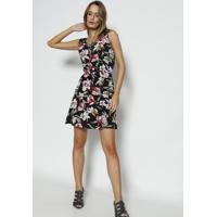 Vestido Floral Com Colar Removível- Preto & Cinza Claro