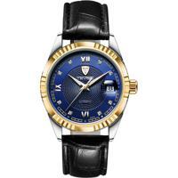 Relógio Tevise 629-003 Masculino Automático Pulseira De Couro Preto - Azul E Dourado
