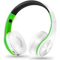 Fone De Ouvido Bluetooth Dobrável - Branco E Verde