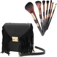 Kit Mini Bolsa Macadâmia + Necessaire Com 7 Pinceis Profissionais De Maquiagem - Feminino