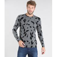 Suéter Masculino Em Tricô Estampado De Folhagem Slim Fit Cinza Mescla