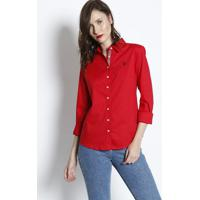 Camisa Lisa Com Bordado - Vermelhaus Polo