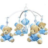 Móbile Musical Ursinho Azul E Balão Quarto Bebê Infantil Menino Potinho De Mel