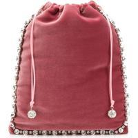 Ca&Lou Embellished Drawstring Clutch - Rosa