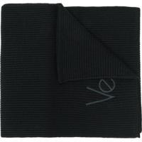 Versace Cachecol De Lã Com Logo - Preto
