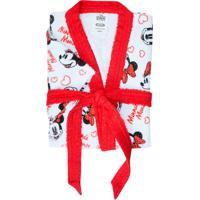 Roupão Infantil Mickey E Minnie M Branco E Vermelho
