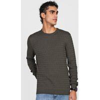 Suéter Tricot Dudalina Textura Verde