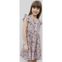 Vestido Infantil Estampado Floral Manga Curta Rosa