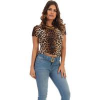 Blusa Dioxes Jeans Com Estampa Animal Print Feminina - Feminino