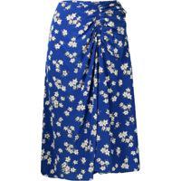 P.A.R.O.S.H. Saia Floral Com Franzidos - Azul