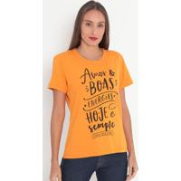 "Camiseta ""Amor & Boas Energias...""- Laranja & Preta-Coca-Cola"
