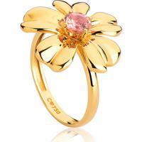 Anel De Ouro 18K Flor Com Gema Turmalina Rosa-Coleção Jardim Secreto