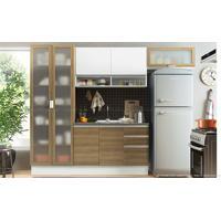 Cozinha Modulada Compacta Com 4 Módulos Alina Rustic/Branco - Glamy