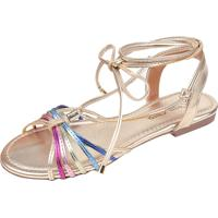 Sandália Rosa Chic Calçados Rasteirinha Dourada/Colorido