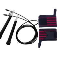 Kit Crossfit Corda De Pular Speed + Munhequeira Profissional (Par) - Unissex