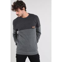 Suéter Masculino Em Tricô Com Listras Cinza Mescla Escuro