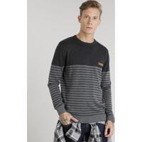 Suéter Masculino Listrado Em Tricô Gola Redonda Manga Longa Cinza Mescla Escuro
