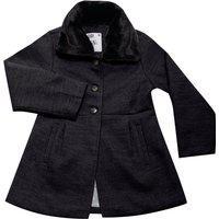 Trench Coat Juvenil Cata-Vento Com Gola Em Pelo Removível Preto Cata-Vento Casual Preto