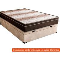 Cama Box Casal Premium Com Baú Suede Pena Bege Com Colchão Light Ortopédico D28 Marrom