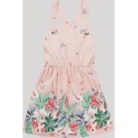 Vestido Infantil Estampado Floral Alça Com Ilhós Rosa Claro