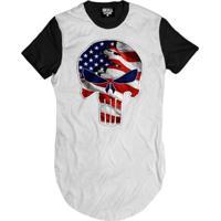 Camiseta Longline Justiceiro Usa Masculina - Masculino-Branco