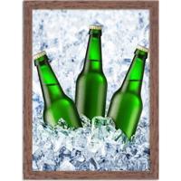 Quadro Decorativo Garagem Cerveja No Gelo Madeira - Médio