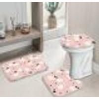 Jogo Tapetes Para Banheiro Easter Pink Único