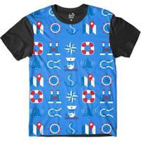 Camiseta Long Beach Náutica Boiá E Marinheiro Sublimada Masculina - Masculino-Azul+Preto