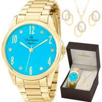 Kit Relógio Champion Feminino Elegance Com Colar E Brincos Cn26242Y
