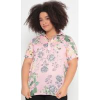 Blusa Floral Com Botões- Rosa & Verde- Cotton Colorscotton Colors Extra