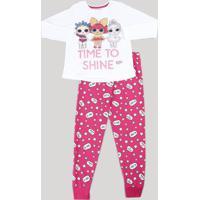 Pijama Infantil Lol Surprise Com Glitter Manga Longa Off White