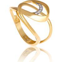 Anel De Ouro 18K Círculos Entrelaçados Com Diamantes