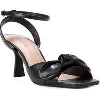 Sandália Couro Shoestock Salto Taça Médio Laço Feminino - Feminino-Preto