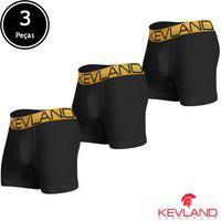 Cuecas Boxer Kevland - Kit Com 3 Peças Microfibra Preta Elástico Dourado Preto