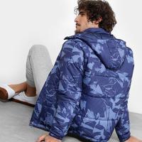 Jaqueta Mood Estampada Capuz Masculina - Masculino-Azul