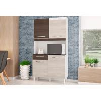 Kit Cozinha Carine Compacta 04 Portas Amêndoa/Capuccino - Poquema