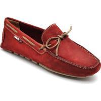 Sider D&R Shoes Em Couro Masculino - Masculino-Vermelho