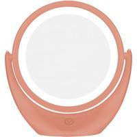 Espelho Com Aumento De 5X Redondo Dupla Face Leds Recarregável Bc1007 Rosa