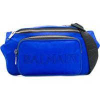 Balmain Pochete Com Bordado De Logo - Azul