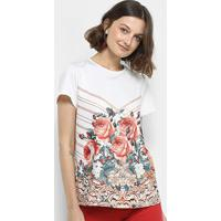 Blusa Lança Perfume Estampada Floral Manga Curta - Feminino-Marrom+Branco