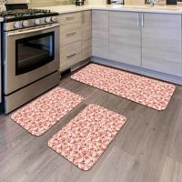 Kit Com 3 Tapetes De Cozinha Mdecore Floral Rosa Único