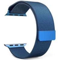 Pulseira Milanês Para Apple Watch 42Mm Aço Inoxidável Azul
